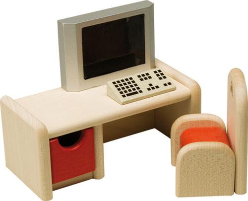 schreibtisch mit computer und stuhl holzspielzeug. Black Bedroom Furniture Sets. Home Design Ideas